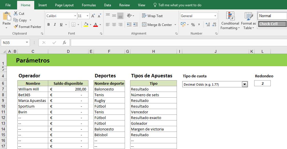 Excel Parametros