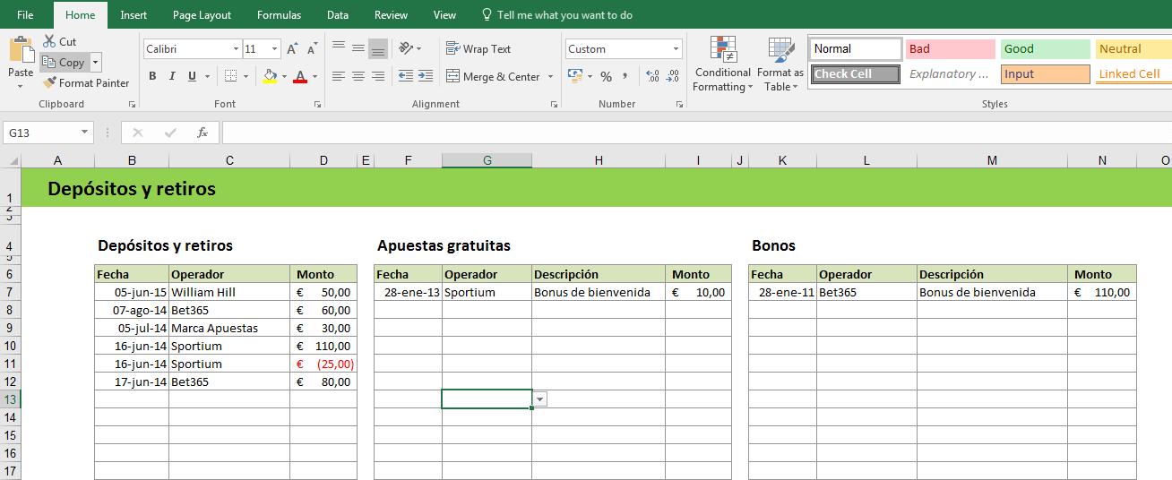 Excel depositos y retiros