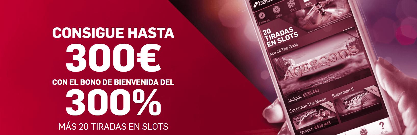 Descubre Betfair Casino y gana 300€ + 20 tiradas gratis
